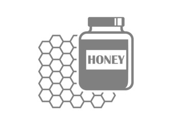 Grey honey icon on white background