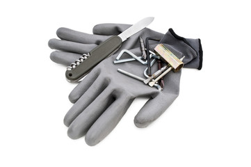 gloves and tools