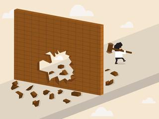 Businessman break a wall and walk apart