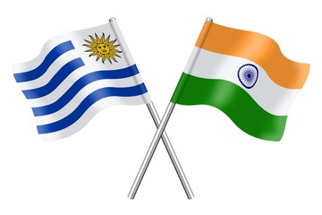 Flags : Uruguay and India
