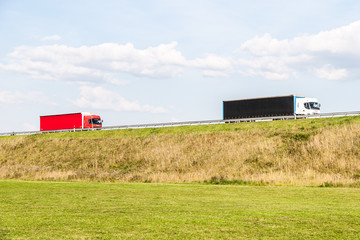 Trucks on the rural road