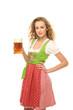 canvas print picture - Mädchen im Dirndl mit Bier