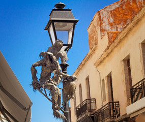 Original lamp on the street in the city of Retimno, the island o