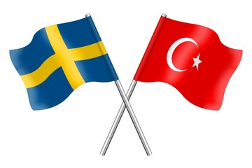 Flags : Sweden and Turkey