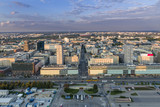 Panorama of Warsaw city during sundown.