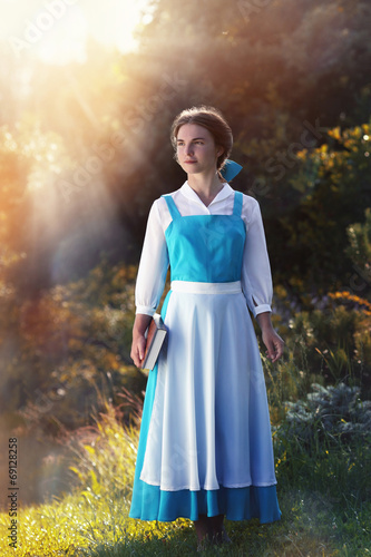 """Poster beautiful girl in cosplay Belle of the animated film """"Beauty and"""