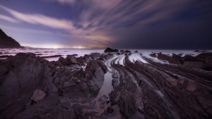 Barrika beach at night