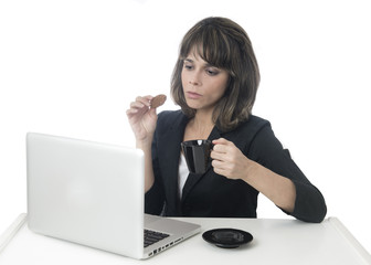Business woman Having Lunch At Desk