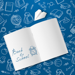 Back to school text end  vector doodle