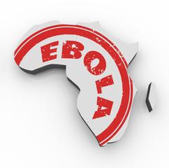 Ebola Disease Virus Red Stamp Africa 3d Map