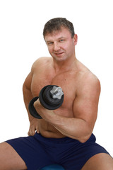 Strong man with barbell