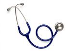 Old blue stethoscope on isolated