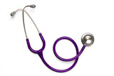 Old purple stethoscope on isolated