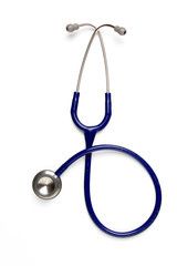Old blue stethoscope on isolated