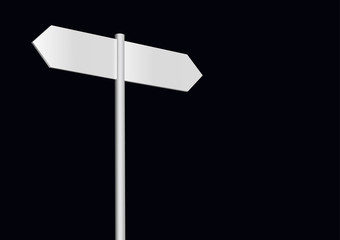 Blank signpost on a black