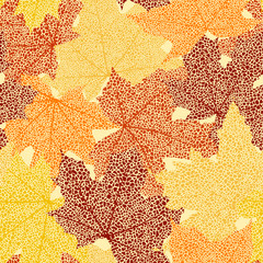 Dry autumn maple leaves seamless background