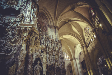 medieal high altar of the Cathedral of Toledo, gothic style scul
