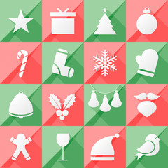 set of twelve Christmas icons