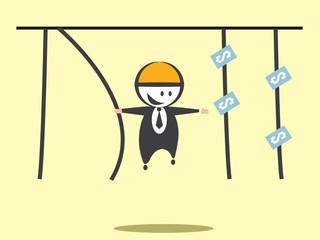 Businessman catch money