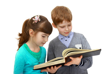 Boy and girl with book