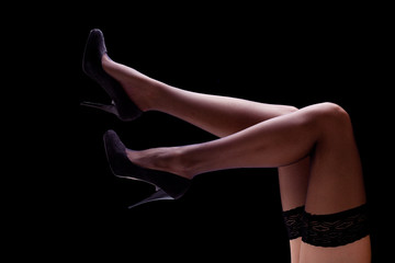 Woman Legs with Black Thigh High and Heels