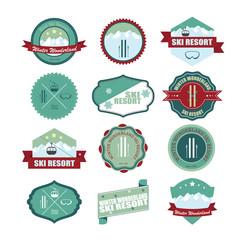 Set of ski mountain badges. Illustration eps10