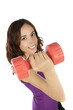 Smiling fitness woman with dumbbells isolated