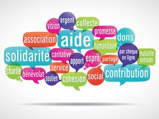 nuage de mots solidarité aide dons