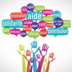 nuage de mots coeur mains : solidarité aide dons