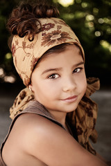 Portrait of a beautiful young girl wearing headscarf