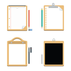 White Paper with Clipboard and Chalkboard, Office Equipment