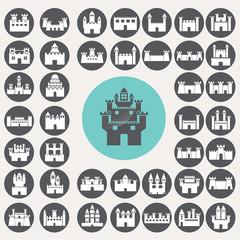 Castle icons set. Illustration eps10