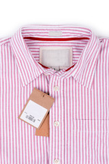 price tag with barcode on shirt