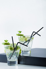 Two Mojito cocktail with limes and mint