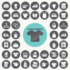 Laundry And Washing icons set. Illustration eps10