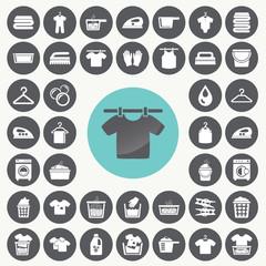 Laundry And Washing icons set. Illustration eps10