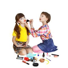 Cute girls play makeup