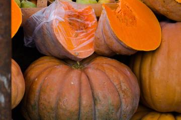 Organic pumpkins at the market