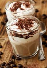 Latte Coffee with Cream and Cocoa