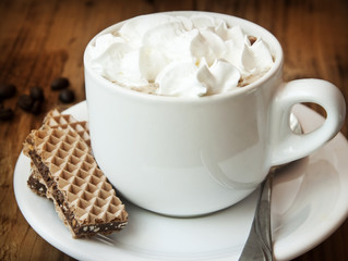 Cappuccino Cup with Cream and Cookies