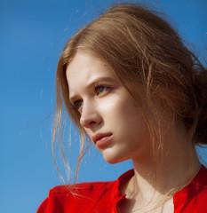 Young beautiful girl headshot portrait