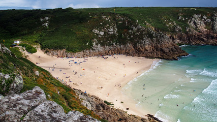 Sun and shadow at Porthcurno Beach, Cornwall
