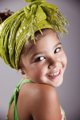 Portrait of a beautiful happy young girl