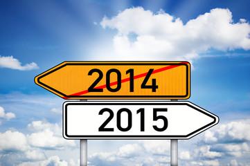 Wegweiser mit 2014 und 2015