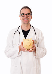 friendly doctor with piggy bank