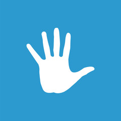arm icon, white on the blue background .