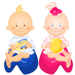 vector baby boy and girl are sitting on the pots