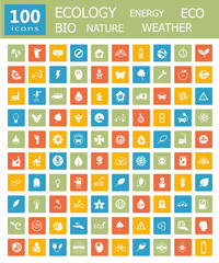 Big collection icons ecology, energy and nature