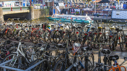 Amsterdam, Netherlands. The bicycles parked in the city street