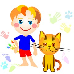 vector boy and a cat drawing